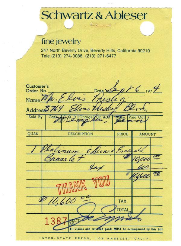 elvis bracelet receipt - Jewelry appraisal: ultimate guide