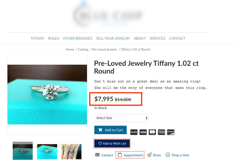 Used Tiffany diamond ring for sale on second hand retailers website