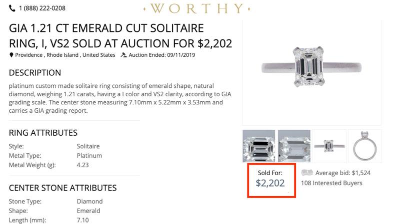 Worthy engagement ring price
